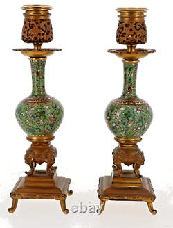 2 Bougeoirs Bronze + Emaux Cloisonnes 19eme F Barbedienne Signe Et Numerote
