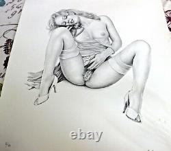 ASLAN Rare DESSIN lithographie Erotique Gravure Femme signée et numérotée
