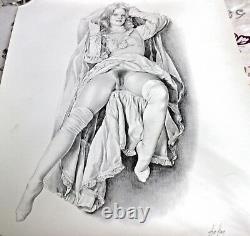 ASLAN Rare DESSIN lithographie Femme érotique signée et numérotée