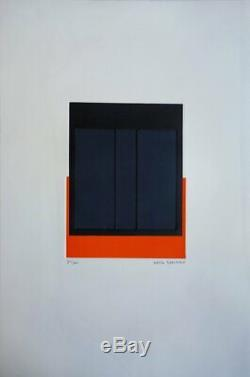 Alberte GARIBBO Carré Noir sur orange GRAVURE ORIGINALE #Signée crayon, 60ex