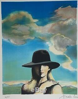 Amanda Lear autoportrait Lithographie Signé à la main