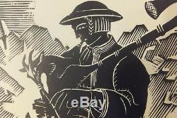BARTLOMIEJCZYK Edmond Le joueur de cornemuse gravure originale sur bois 1926
