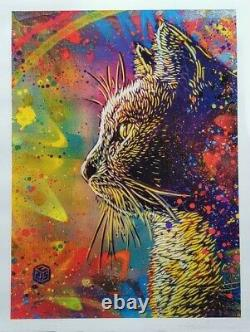 C215 Christian Guémy Rainbow cat Signée Numérotée 60x80cm (no Obey, banksy)