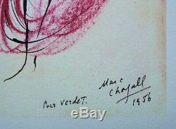 CHAGALL Marc Les amoureux LITHOGRAPHIE originale signée, Dédicace à Verdet