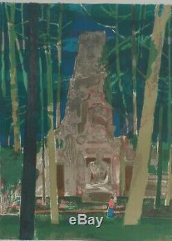 Cathelin- LITHO-Signée et numérotée au crayon Preah Palilay (Angkor Thom). 1968