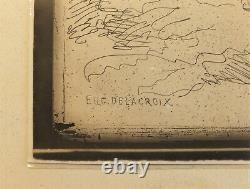 Cliché-verre Tigre à larrêt 1854 par Delacroix, tirage 1921