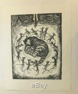 Decaris Chat et souris, Burin original signé et numéroté