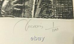 Decaris Chat sur les toits de Paris, Burin original signé et numéroté