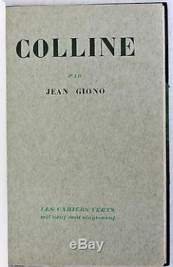 EDITION ORIGINALE NUMEROTEE RELIURE SIGNEE CANAPE. JEAN GIONO COLLINE. 2e PAPIER