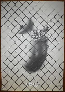 Ernest Pignon-Ernest Lithographie originale signée numérotée contre l'apartheid