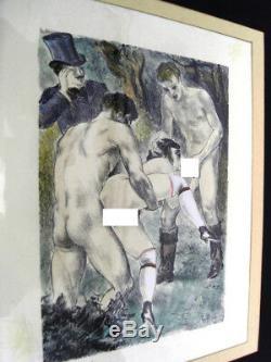 Erotisme En Sous-bois -lithographie Aquarellee 1930 Berthomme St-andre -ero 17