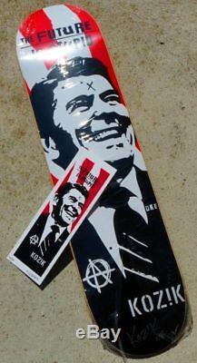 FRANK KOZIK Ronald Reagan sérigraphie sur skateboard sign-num/200 +COA 2008
