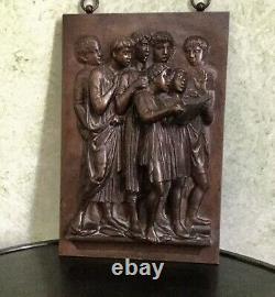 F. Barbedienne Bronze Bas Relief Ancien Epoque Authentique Signé, Numeroté