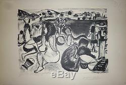 François Desnoyer Lithographie signée numérotée la plage la mer