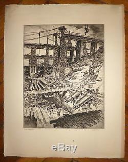 GOBO Georges Gravure Originale signée numérotée construction ouvrage ouvrier