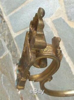 Grande paire embrases de rideaux en bronze dore, numerote, signe, holders, XIXeme