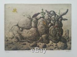Gravure Orig Moreh Mordecai sign/n° Eternité d'un Zebu Animalia Surrealiste