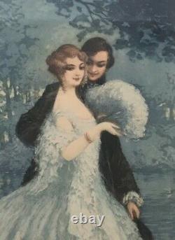 Gravure Originale Ancienne Scène Galante Éventail William Adolphe Lambrecht 1920