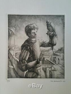 Gravure orig Erik Desmazières sign/n° Personnage Fantastique Fauconnier 1977