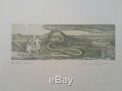Gravure orig Ernst Fuchs sign/n° EA visionnary art Wien Abenteuer Vulkan 1976