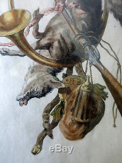 Gravures par Guélard d'après Christophe Huet Deux trophées de chasse 18ème
