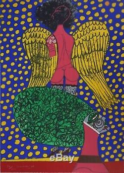 Guillaume CORNEILLE Ange et femme de profil Lithographie originale Signée