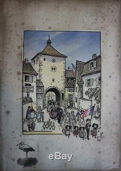 HANSI NOCE EN ALSACE LITHOGRAPHIE ORIGINALE signée, numérotée 2/500 1916