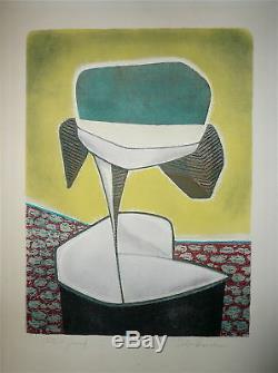 HORAK BOHUSLAV lithographie signée numérotée art abstrait abstract USA CZECH