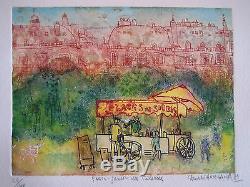 Hasegawa Shoichi Gravure Originale Paris-jardin Des Tuileries
