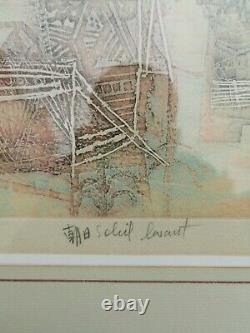 Hasegawa Shoichi Gravure Originale Soleil levant Signée Numeroté Japon etching