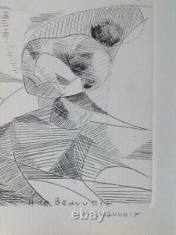 Hélène de Beauvoir Rare Burin Gravure 1960 Signée Burin BFK Abstrait Encadrée