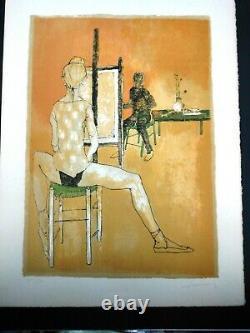Jansem Jean -rare Lithographie Originale Signee 1960 -le Peintre Et Son Modele