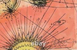 Jean CARZOU Lithographie originale signée, De la Terre à la Lune 1970, 37x56cm