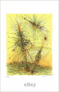 Jean CARZOU Lithographie originale signée, De la Terre à la Lune 1970, 57x36cm
