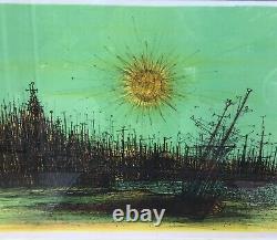 Jean CARZOU Paysage port au soleil Lithographie signée, datée et numérotée
