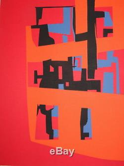 Jean CAVALLARO (1930-2000) LITHO ÉPREUVE ARTISTE SIGNEE AU CRAYON ART ABSTRAIT