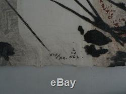 LIONEL Composition Gravure Originale rehaussée à la main et Signée