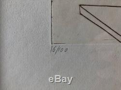 Le Départ de la statue Claude Weisbuch Pointe sèche signée numérotée