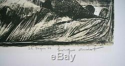 Lithographie Originale 1976 Georges Oudot ile de Pâques les Moaï