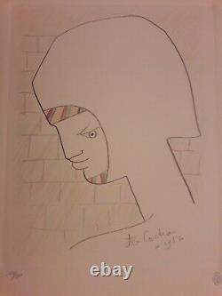Lithographie Originale. Jean Cocteau. Signee Et Datee 1956