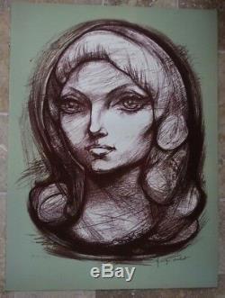 Lithographie originale Georges Oudot Besançon épreuve d'artiste Marie Hélène