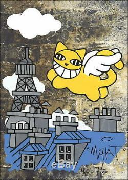 M. CHAT (Thoma Vuille) Sérigraphie Originale L'avenir du chat volant, Paris
