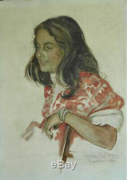 Max MOREAU (1902-1992) Aquarelle. Portrait de femme. Marrakech. Pv 140