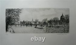 Maxime Juan gravure originale signée numérotée Pont des Arts Notre Dame de Paris