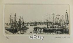 Michel Ciry le Port d'Ijmuiden Pays Bas 1948 pointe-sèche originale