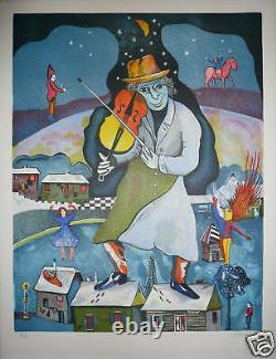 Minsky Lithographie sur velin signée numérotée musicien violoniste musique