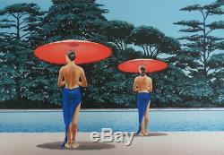 Patrick LE HEC'H les parasols rouges # LITHOGRAPHIE Originale signée #350EX