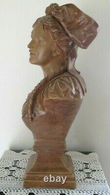 Rare Sculpture buste Marianne alsacienne terre cuite France estampillé numéroté