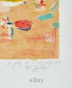 Robert SAVARY Estampe originale Lithographie La plage à St Aygulf