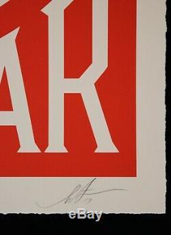 SHEPARD FAIREY signée MAKE ART NOT WAR Large Format Sérigraphie Obey Giant 89 ex